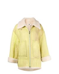 Abrigo de piel de oveja amarillo de MM6 MAISON MARGIELA