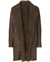 Abrigo de piel de oveja en marrón oscuro de Vince