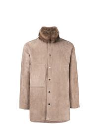 Abrigo de piel de oveja marrón claro de Liska