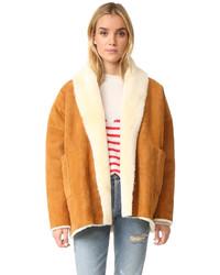 Abrigo de piel de oveja marrón claro de Mes Demoiselles