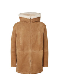 Abrigo de piel de oveja marrón claro de Saint Laurent