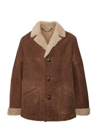 Abrigo de piel de oveja marrón de Belstaff
