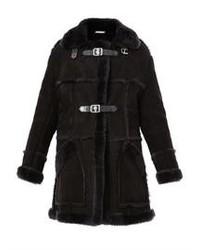 Abrigo de piel de oveja negro