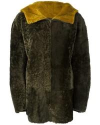 Abrigo de piel de oveja verde oliva