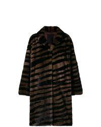 Abrigo de piel de rayas horizontales en marrón oscuro de Liska