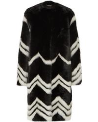 Abrigo de piel de rayas horizontales en negro y blanco de Givenchy