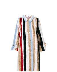 Abrigo de piel de rayas verticales en multicolor de Thom Browne
