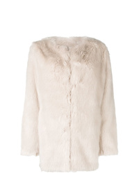 Abrigo de piel en beige de Helmut Lang