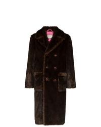 Abrigo de piel en marrón oscuro de Gucci