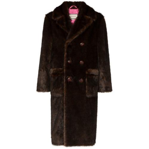 664dd431f Abrigo de piel en marrón oscuro de Gucci, €4,900 | farfetch.com ...