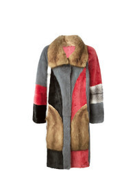 Abrigo de piel en multicolor