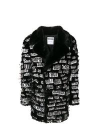 Abrigo de piel en negro y blanco de Moschino