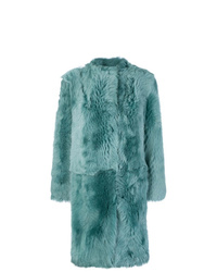 Abrigo de piel en verde menta