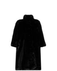 Abrigo de piel negro de Balenciaga