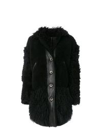 Abrigo de piel negro de Kenzo