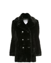 Abrigo de piel negro de Moschino