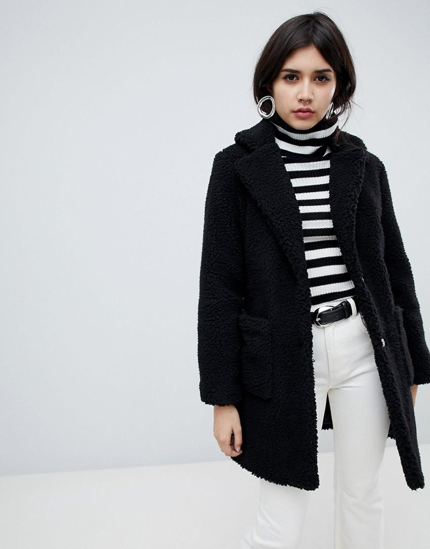 Abrigo de piel negro de New Look
