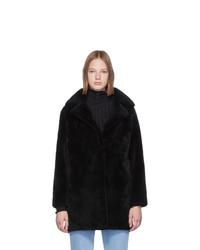 Abrigo de piel negro de Yves Salomon Meteo