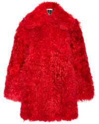 Abrigo de piel rojo