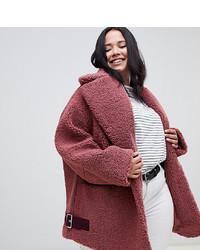 Abrigo de piel rosado de Asos Curve