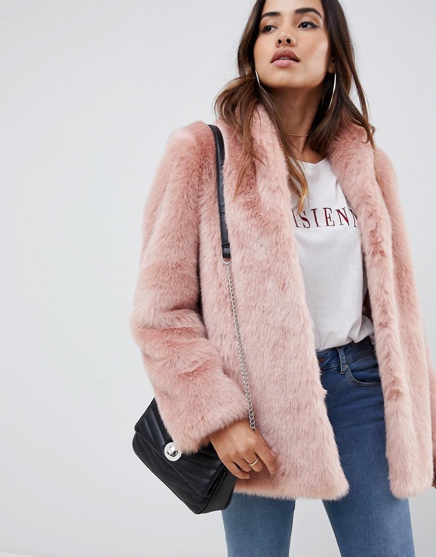Abrigo de piel rosado de ASOS DESIGN