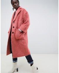 Abrigo de piel rosado de ASOS WHITE