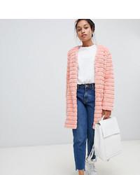 Abrigo de piel rosado de Glamorous Petite