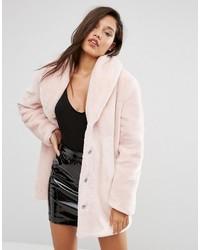 Abrigo de piel rosado de Missguided