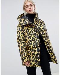Abrigo de plumón de leopardo en multicolor de ASOS DESIGN