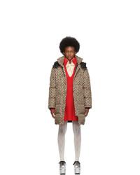 Abrigo de plumón estampado marrón de Gucci