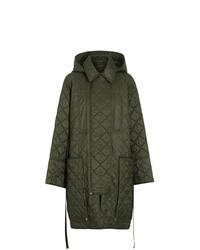 Abrigo de plumón verde oliva de Burberry