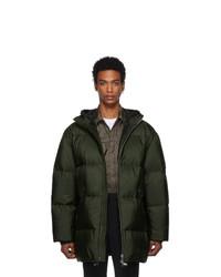 Abrigo de plumón verde oscuro de Prada