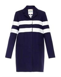 Abrigo de rayas horizontales en azul marino y blanco