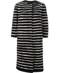Abrigo de rayas horizontales en blanco y negro