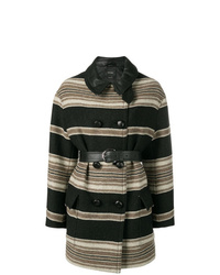 Abrigo de rayas horizontales negro de Isabel Marant