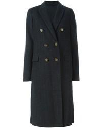 Abrigo de rayas verticales en gris oscuro