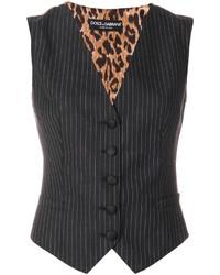 Abrigo de rayas verticales en gris oscuro de Dolce & Gabbana