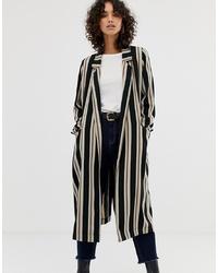 Abrigo de rayas verticales en negro y blanco de ASOS DESIGN
