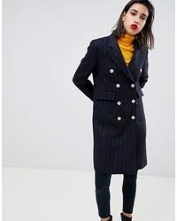 Abrigo de rayas verticales negro de Mango