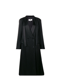 Abrigo de rayas verticales negro de MM6 MAISON MARGIELA