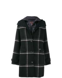 Abrigo de tartán en negro y blanco de Woolrich