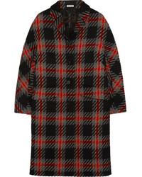 Abrigo de tartán negro de Miu Miu