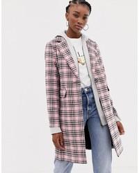 Abrigo de tartán rosado