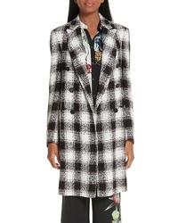 Abrigo de tweed a cuadros en negro y blanco