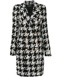 Abrigo de tweed a cuadros en negro y blanco de Balmain