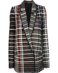 Abrigo de tweed a cuadros en negro y blanco de Haider Ackermann
