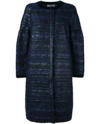 Abrigo de Tweed Azul Marino de Alberta Ferretti