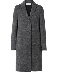 Abrigo de tweed de espiguilla en gris oscuro de Harris Wharf London
