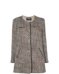 Abrigo de Tweed Gris de Chanel Vintage