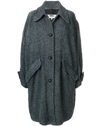 Abrigo en zig zag negro de MM6 MAISON MARGIELA